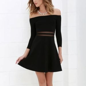 Lulu's Say Yes To The Mesh Black Skater Dress